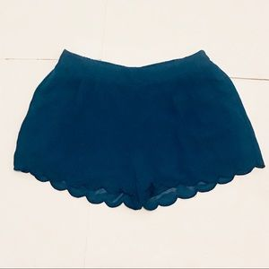 mine Teal Scalloped Shorts